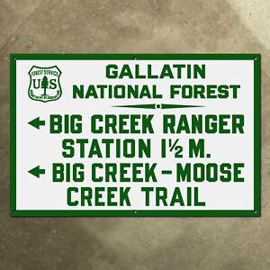 Montana USFS Gallatin National Forest Service highway trail Big Creek sign 20x13