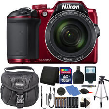 Nikon Coolpix B500 16MP Digital Camera with Extra Batteries + Accessories -Red