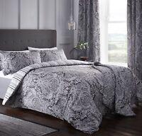 Dreams & Drapes Maduri Reversible Easy Care Duvet Cover Bedroom Range Black