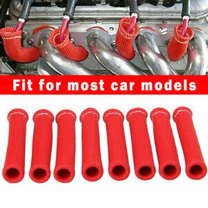 Red Spark Plug Wire Boots Protectors Sleeve Heat Shield Cover 8Pcs 2500° For SBC