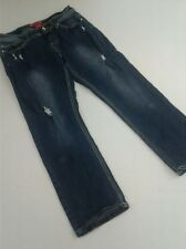 RED RIVET Straight Leg Factory Distressed Stretch Dark Womens Jeans Size 9 Short