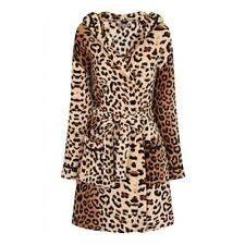 Womens Coral Fleece Bath Robe Ladies Super Soft Warm Dressing Gown leopard print