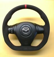 SPORTS STEERING WHEEL Mazda RX8 FULL BLACK ALCANTARA ! FLAT BOTTOM ! R8 STYLE