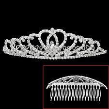 Glitter Silver Tone Bride Bridal Crown Hair Comb Clip Tiara Crystal Rhinestone