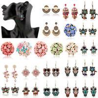 1 Pair Fashion Elegant Women Lady Crystal Rhinestone Ear Stud Earrings Chain New