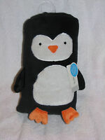 CARTERS BLACK WHITE PENGUIN BIRD ROLL ME UP CHARACTER PLUSH BABY BLANKET NEW NWT
