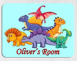 Personalised DINOSAURS DOOR PLAQUE Any Name Metal Childs Kids Room Bedroom Sign