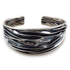 Große Crushed 925 Sterling Silber Zweifarbig Armband Manschette