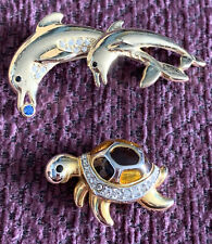 Turtle - Good Condition Two Vintage Brooches, Dolphin And
