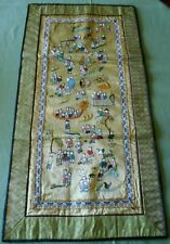 """Vintage Chinese Silk Embroidered Figural Table Runner  25"""" X  12&3/4"""""""