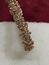 10kt Yellow Gold Ladies champagne Diamond Cluster Bracelet/ Side Lock
