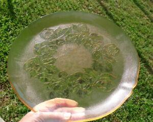 Arcoroc France Pink Glass Platter Summer Roses Pattern Glassware Serving Plate
