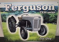 FERGUSON TE20 SERIES TRACTOR,  ANTIQUE-FINISH METAL WALL SIGN 30x20 cm FARMING