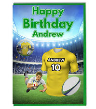 Personalised Rugby Shirt Birthday Card and Badge - Clermont Colours