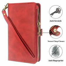 Samsung Galaxy A6 2018 Wallet Case Leather Card Slot Kickstand Zipper Pocket Red