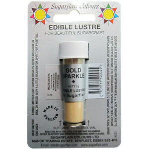SugarFlair Edible Gold Sparkle Lustre Powder Food Colour Icing Cake Decoration
