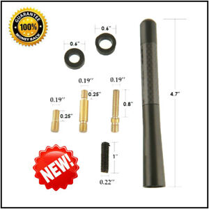 Universal Screw 4.7inches+ Car Antenna Carbon Fiber Radio FM Antena Black Kit