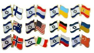 Mix Country Friendship Flags with Israel pretty Badge Lapel PIN patriot gift