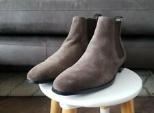 Mens DUNE MANDEL Grey Suede Chelsea Boots, Size 9, NEW, RRP £100