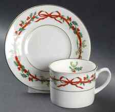 Royal Worcester HOLLY RIBBONS Cup & Saucer (India) 8821932
