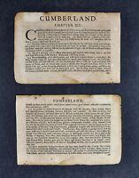 1675 John Speed Atlas 2 Leafs Cumberland County England United Kingdom