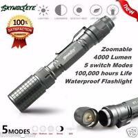 Bright 4000LM  XM-L T6 Zoomable Focus LED Flashlight Torch 5 Mode Light Lamp