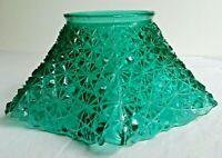 Antique Button & Stars Emerald Green Ruffled Pressed Glass Lamp Light Shade