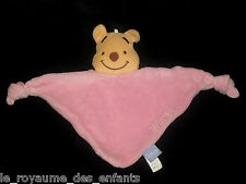 Doudou triangle rose Ours Winnie l'Ourson jaune Disney Baby GSA 2 noeuds