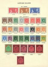 Leeward Islands King George VI Album page 1938-51 set with shades Cat. c. £1000