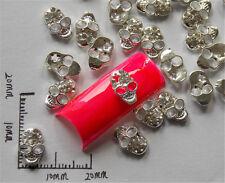 10x Silver Skull Alloy 3D Rhinestone Crystal Glitter Nail Art  Tips