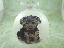 D019 Hand-made Christmas Ornament dog - Yorkshire Terrier Yorkie- puppy cut
