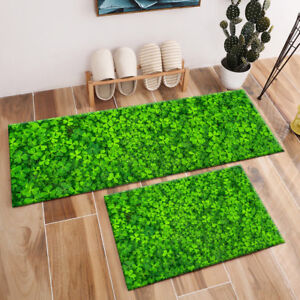 St. Patrick's Day Beautiful Green Clovers Area Rugs Bedroom Kitchen Floor Mat