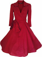 VINTAGE 50'S STYLE ROCKABILLY PINUP SWING WRAP EVENING PARTY DRESS SIZES 4 - 28