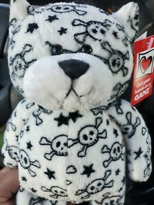 Rare Ganz Skull Bear Plush  crossbones white black 10""