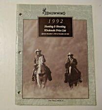 Vintage 1992 Browning Hunting Shooting Price Wholesale List