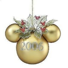 RARE Disney 2006 Mickey Mouse Head Gold Large Dated Ornament NIB