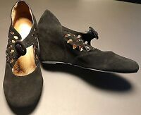 Jeffrey Campbell Black Suede Cut Out Perforated Mary Jane Wedges Heels Size 8.5