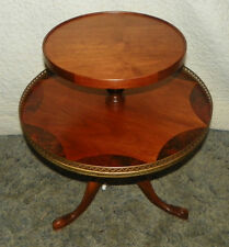 Burl Walnut Inlaid 2 Tier Parlor Table Dumbwaiter Table  (T310)