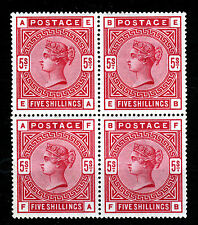 GB QV 1884 5 Shillings Rose A BLOCK OF FOUR Wmk Anchor SG 180 (Spec. K12[1]) MNH