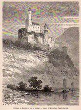 HORNBERG CHATEAU CASTLE DEUTCHSLAND GERMANY IMAGE 1867 OLD PRINT