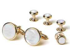Genuine Mother of Pearl Tuxedo Cufflinks and Studs Gold