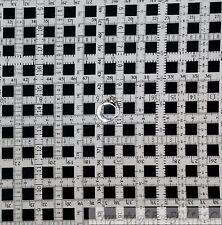 BonEful Fabric Cotton Quilt VTG White Black B&W Tape Measure Gingham Block SCRAP