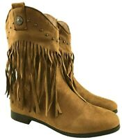 LADIES FAUX SUEDE COWBOY ANKLE FRINGE BOOTS SIDE ZIP WARM LINED CAMEL SIZE 3-8