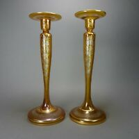 """Hand Blown Signed Etched Amber Glass Candle Stick Holders w/ Gold Overlay 12.5"""""""