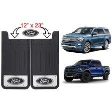 2 Ford Oval Logo Licensed Black 12X23 Rear  Splash Guards Mud Flaps SUV Truck