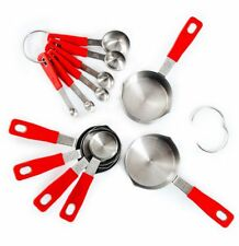 Rorence 18-8 Stainless Steel Measuring Cups and Spoons Set with Long Silicone.