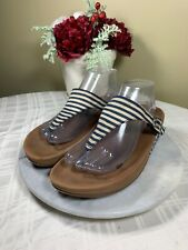 Fitflop Blue Striped Thong Wedge Flip Flop Sandals Woman's Size EU 41.5 US 9.5M