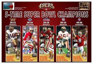 "5-TIME SUPER BOWL CHAMPION SAN FRANCISCO 49ERS 19""x13"" COMMEMORATIVE POSTER"
