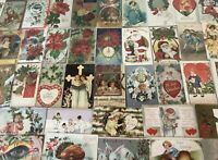 Lot of 100 Holiday Greetings Post Cards~Christmas~Easter~Thanksgiving,etc.-50