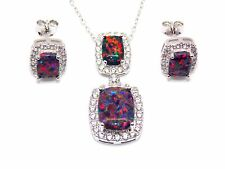 Sterling Silver Black Fire Opal And Diamond 11.75ct Necklace Set (925)